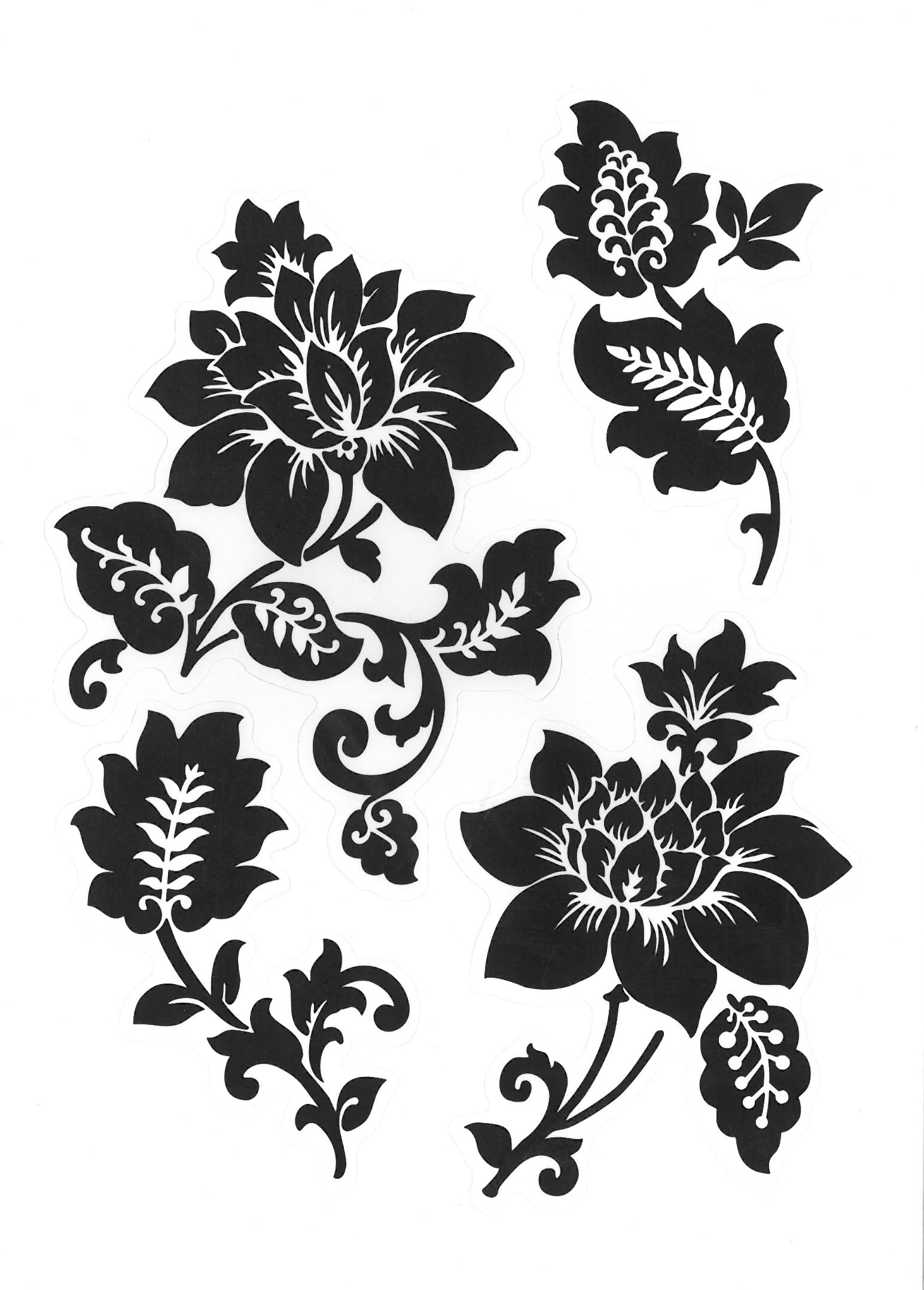wandtattoo ornamente schwarz wei 50x70 cm nr 2 ebay. Black Bedroom Furniture Sets. Home Design Ideas