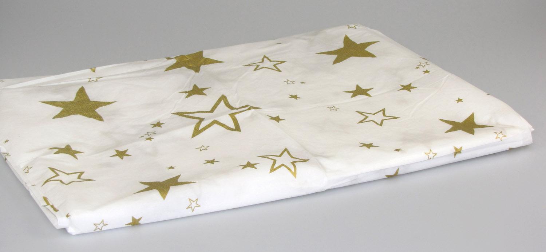 tischdecke weihnachtsdecke papiertischdecke wei mit sternen 180 x 130 cm ebay. Black Bedroom Furniture Sets. Home Design Ideas