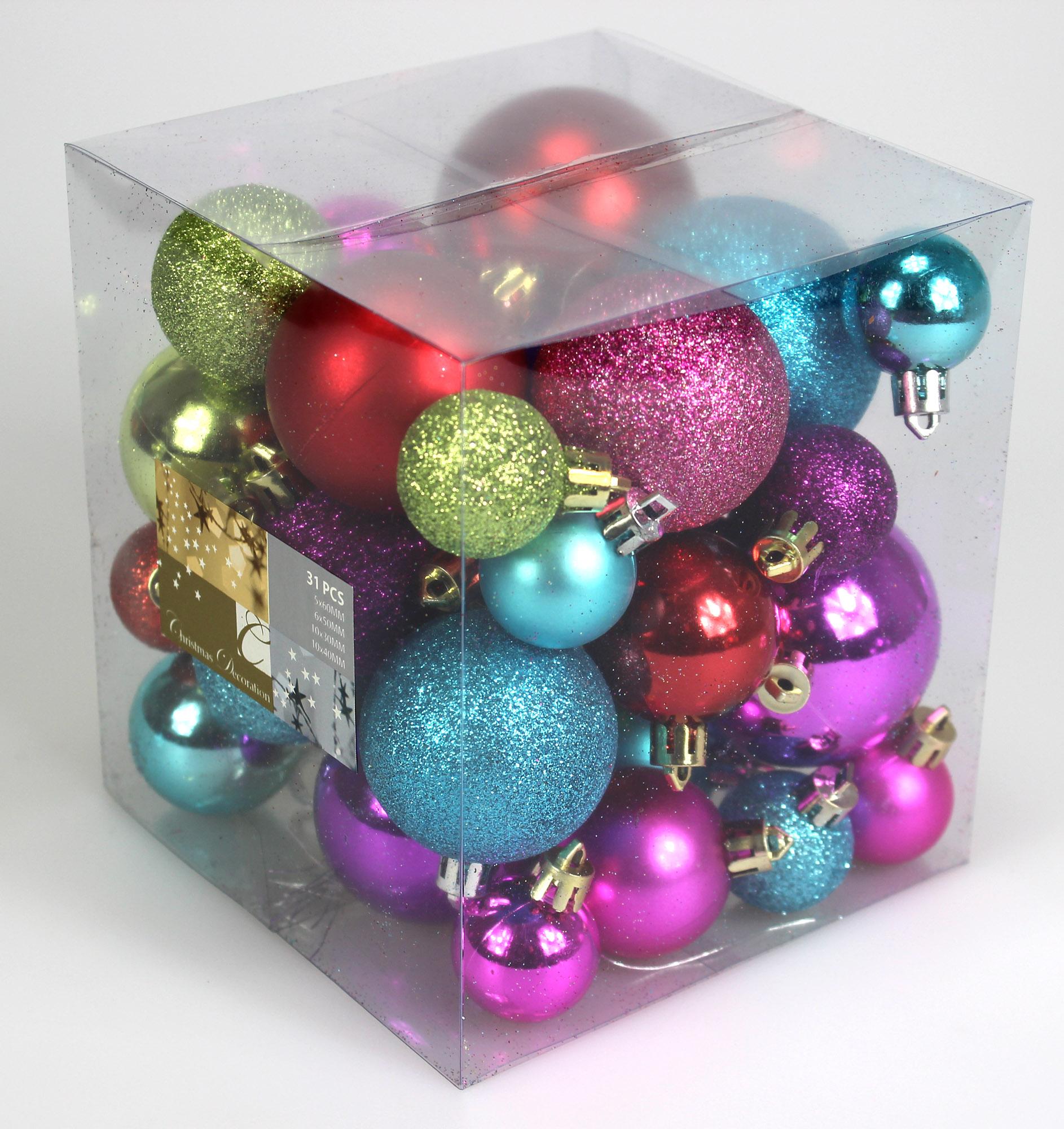 weihnachtskugeln weihnachtsdeko 31 st ck bunt glitzernd. Black Bedroom Furniture Sets. Home Design Ideas